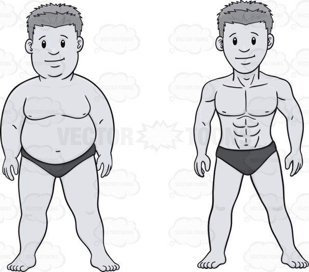 Then and now image of a slimmed down man wearing briefs